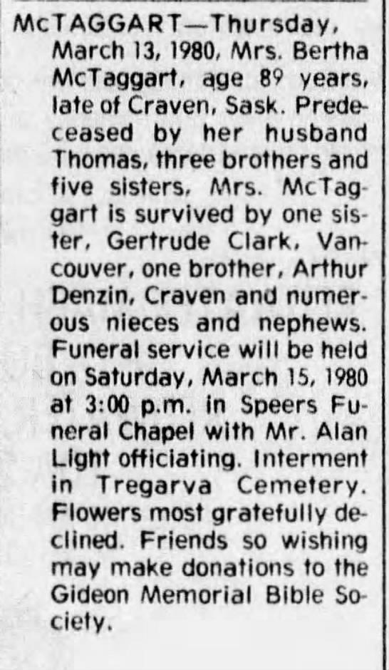 Obituary: Bertha McTaggart née Denzin -