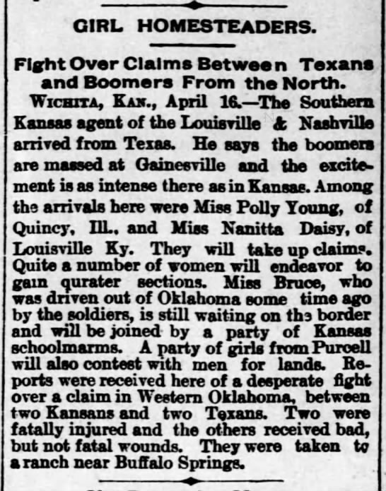 Women intend to file Oklahoma homestead claim -