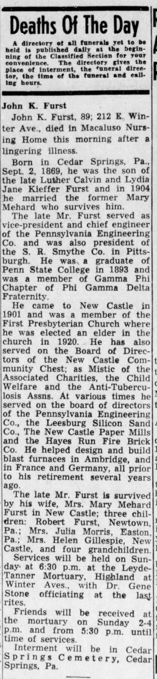 John Furst's Obituary - New Castle News, March 7, 1959 -