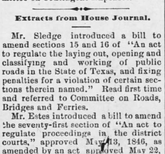 Estes, 16th Lege, Bill introduced -