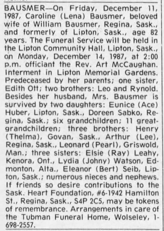 "Obituary: Caroline ""Lena"" Bausmer née Kreutzer -"