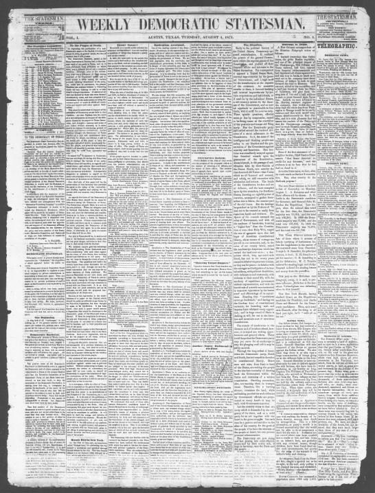 First issue of the Weekly Democratic Statesman, 1 August 1871 -