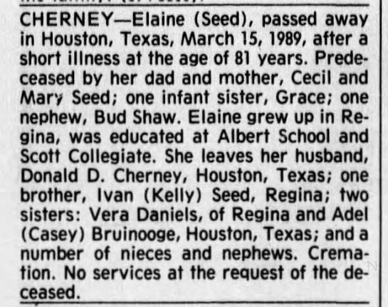 Obituary: Elaine Cherney nee Seed -