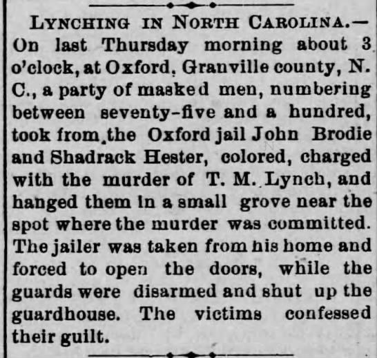 Lynching in Granville County -