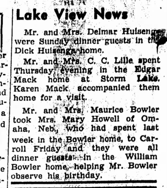 Mary Howell visits Carroll, 1950 -