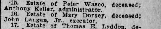 Mary Dorsey estate John Langan, Jr. Executor Mar 4 1920 -