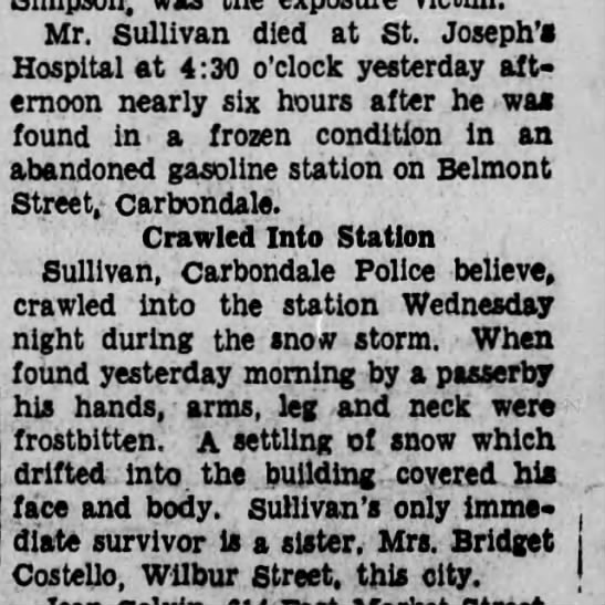 1-24-1936 briget and james sullivan ,froze to death -