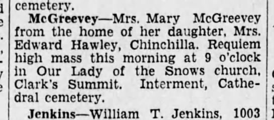 McGreevy, Mary Ann Luddon 1929 Funeral -