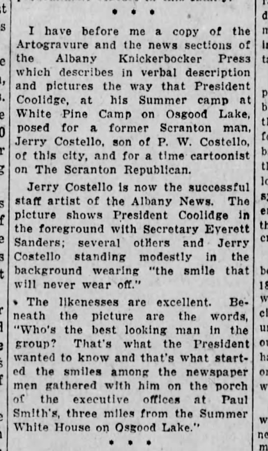 JWC President Coolidge Poses for Jerry Costello Scr Rep July 26 1926 pg 8 -