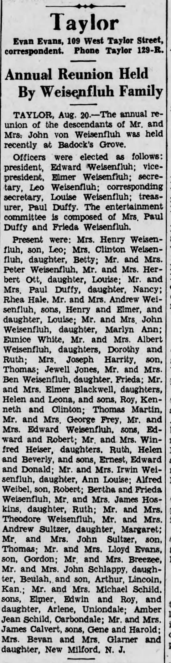 Weisenfluh reunion - The Scranton Republican, 21 Aug 1935, page 15 -