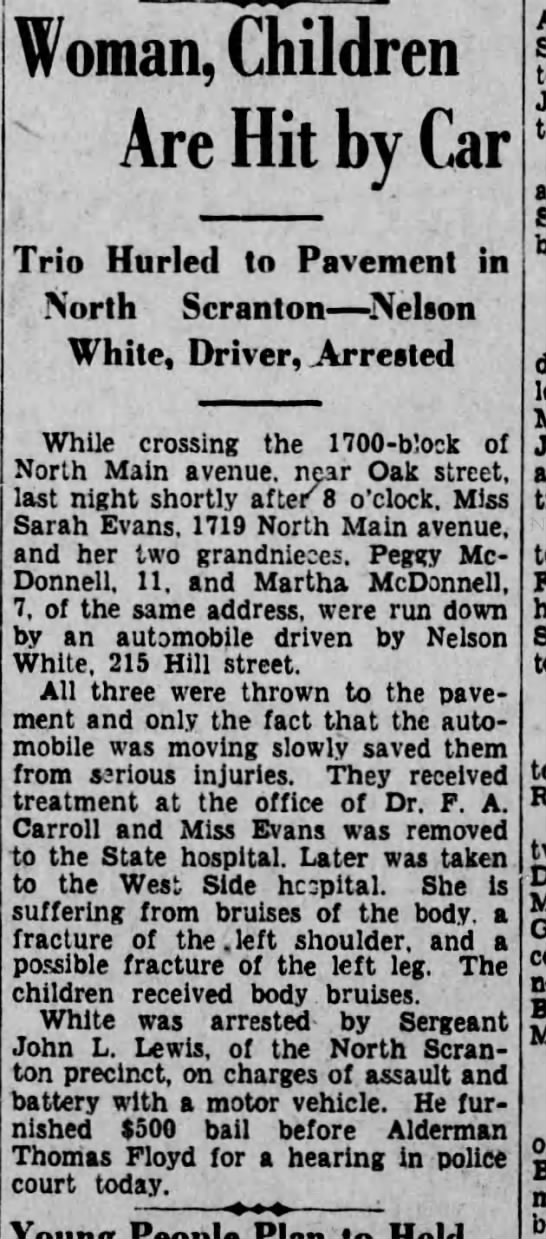 nelson white scranton republican 4-4-1931 - Woman, Children Are Hit by Car Trio Hurled to...