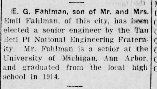 E G Fahlman Senior Engineer