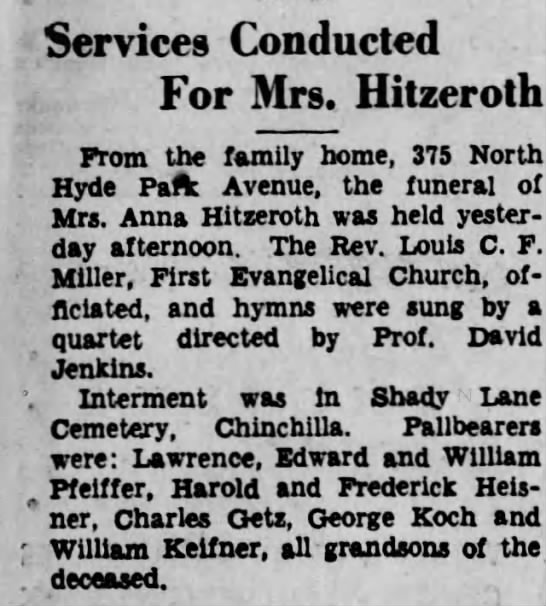 Scranton Republican Tue Page 11 1934 June 26 Anna Elizabeth Hitzeroth Obituary -