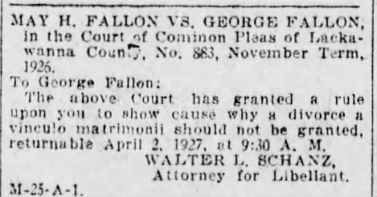 Mary Fallon vs George Fallon for notice of divorce -
