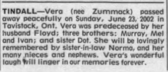 Obituary: Vera Tindall née Zummack -