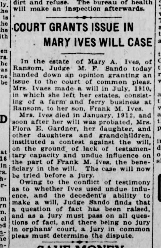 Mary Ives will, Scranton Truth, 4 April 1913 page 2 -