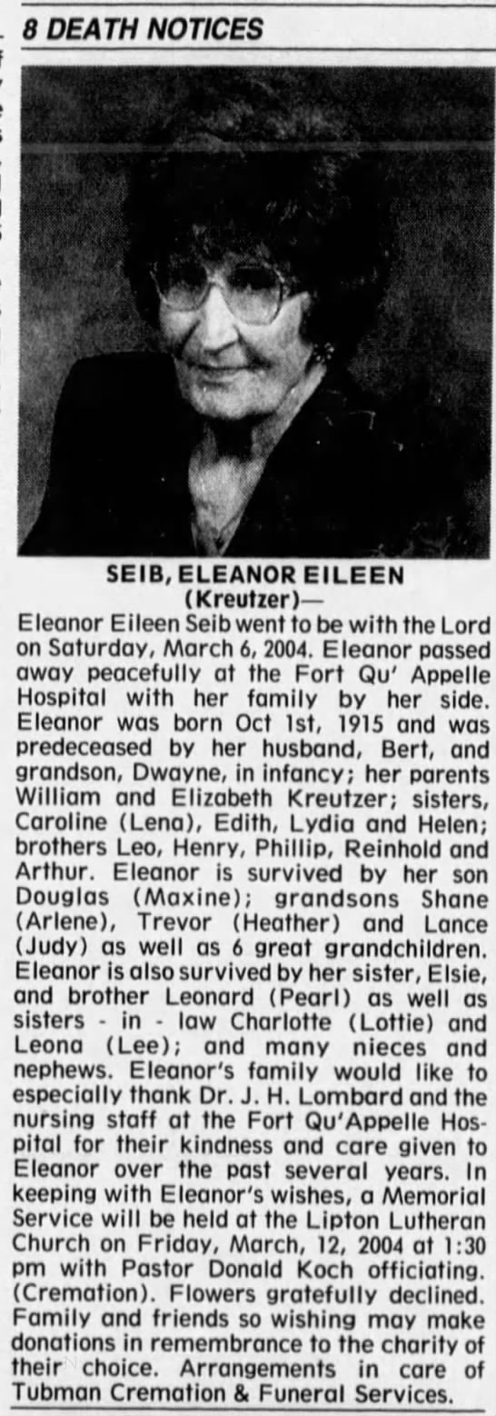 Obituary: Eleanor Eileen Seib née Kreutzer -