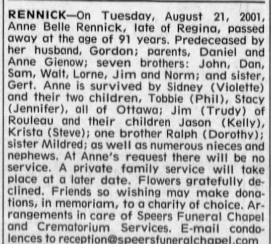 Obituary for Anne Belle RENNICK (Aged 91) -