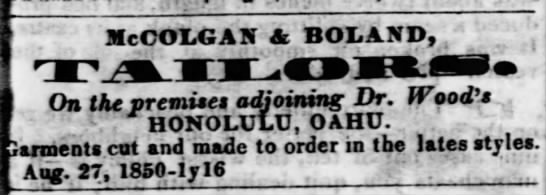 JOHN MCCOLGAN: Tailor partnership with Boland, 1850 -