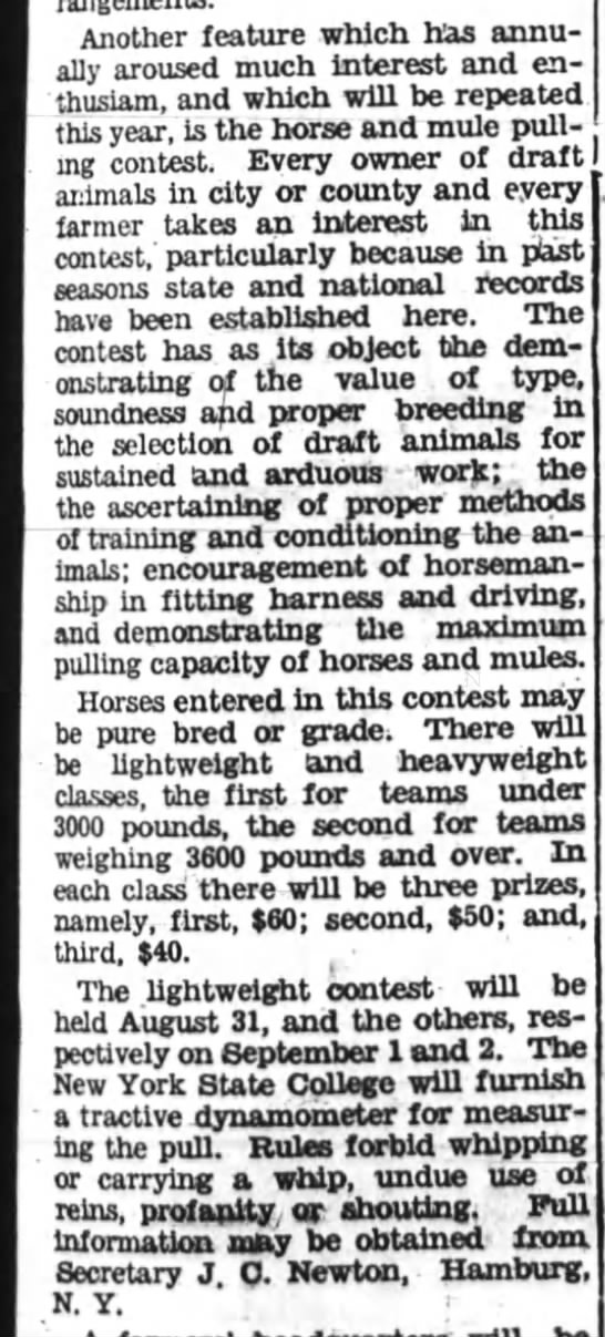 Aug 4, 1932 Hamburg NY Fair Horse pull with Dynamometer owned by NYS College -