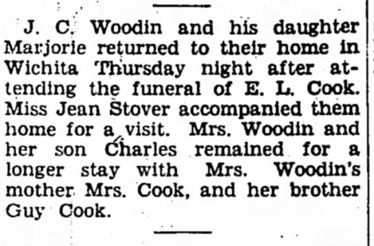 Visit after the funeral of E. L. Cook Iola Register 15 Jan 1938 -