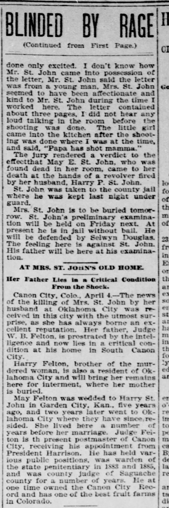 Part 2 Henry Clay St. John murdered wife -