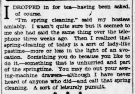 "Spring cleaning becomes a ""leisurely pursuit"" (1930) -"