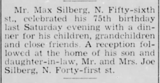 Max Silberg [brother of Samuel Silberg], 75th birthday, Milwaukee -