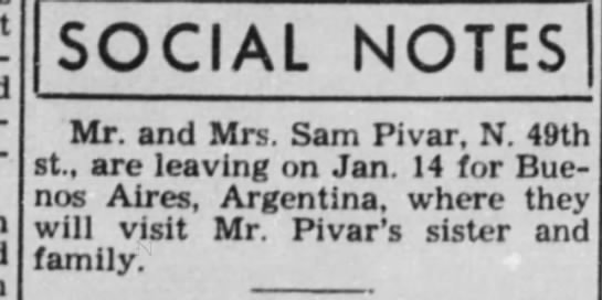 Wondering if you have received any word from Alan Benner on the South American Pivars -
