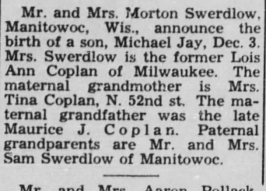 Birth Announcement for Michael Jan in the paper on 6 Jan. 1961 -