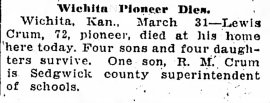 Crum, Lewis obituary Joplin Globe 1Apr1922 -