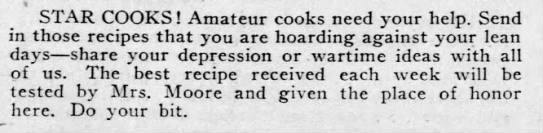 Windsor Star requests wartime recipes (1941) -
