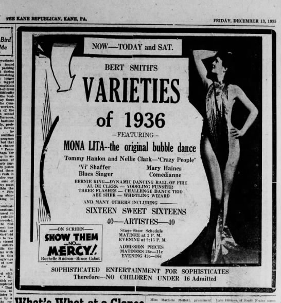 Hanlon & Clark Bert Smith Varieties, Kane, PA (Dec 1935) -