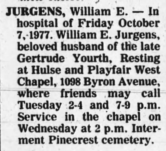 Deaths: William E. Jurgens -