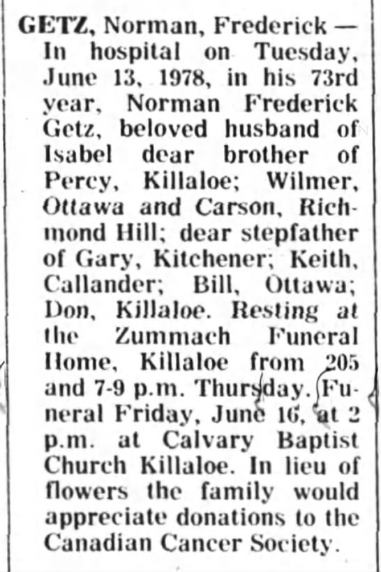 Obituary - Norman Frederick Getz -
