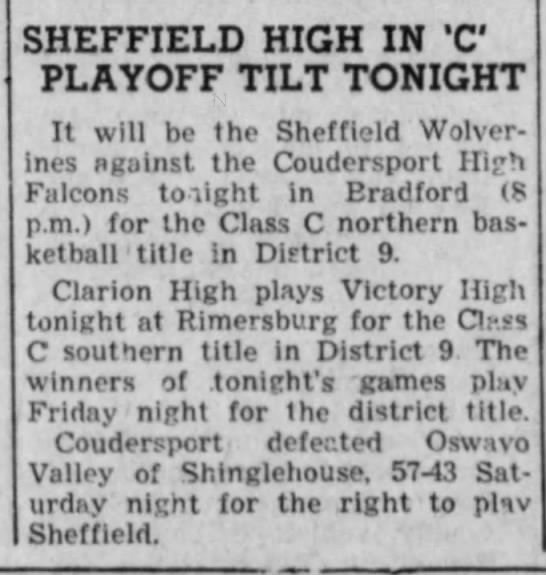 1963 - SHEFFIELD HIGH IN 'C PLAYOFF TILT TONIGHT It...