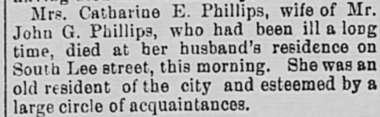 Catharine E Phillips Death Announcement, Feb 17, 1887 -