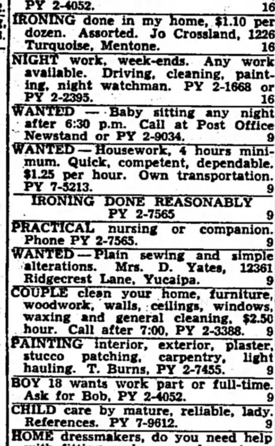 Jo Crossland ironing wanted Redlands Daily Facts 23 Jan 1962 -