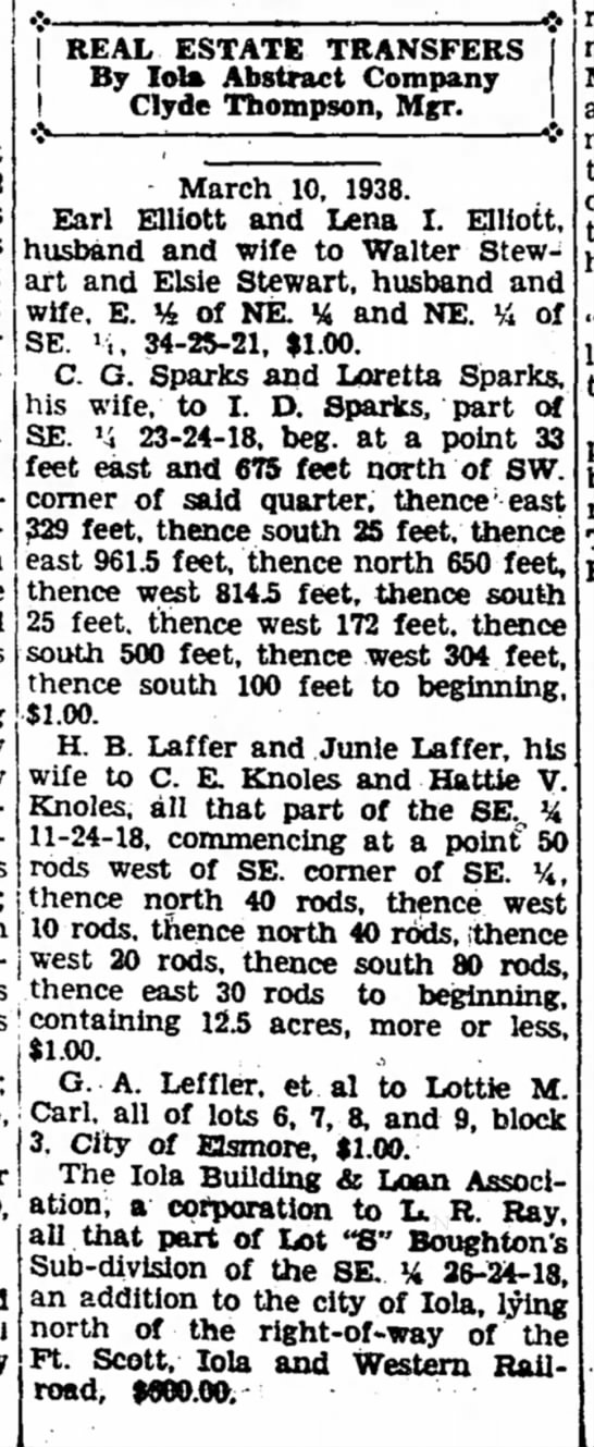 C E Knoles Real Estate Transfer 11 March 1938 -