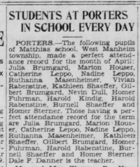 Ruthanna Masenheimer School Attendance -