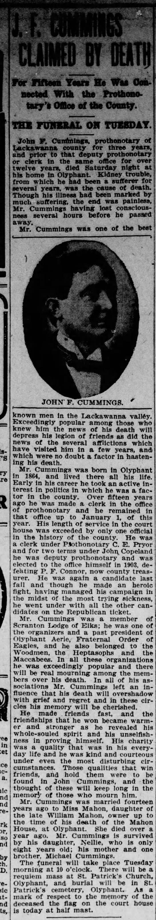 John F. Cummongs obit -