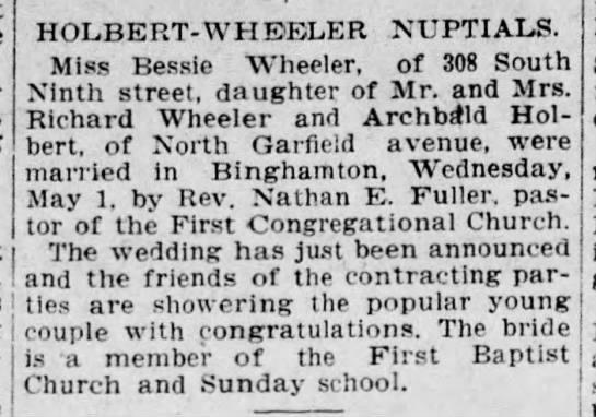 Bessie Wheeler marriage -