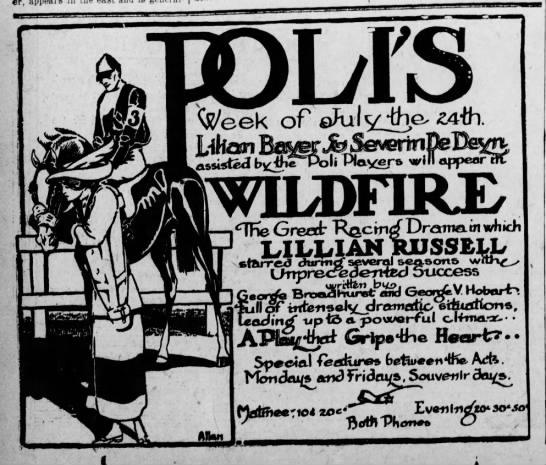 Sarah Farley Allan Ad Poli Theater Wildfire Scranton Truth Jul 24 1911 pg 4 -
