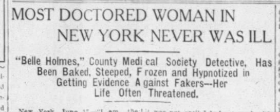 "Frances Benzecry, ""Most Doctored Woman in New York"" 1911 -"