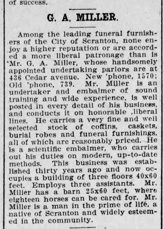 Gustav A Miller Funeral Busin ess South Scr The Scr Truth Sep 25 1905 pg 27 -