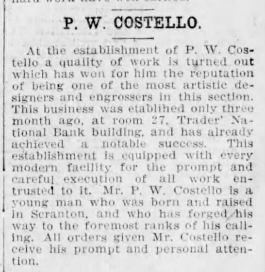 PW Costello Artist Section on local business leaders Scr Truth Sep 25 1905 pg 28 -