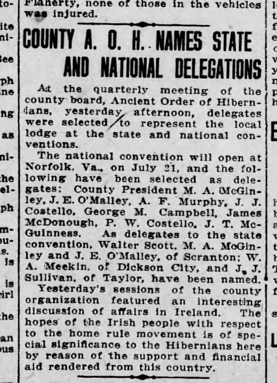PW Costello AOH Names Delegates to Convention July 13 1914 pg 3 -