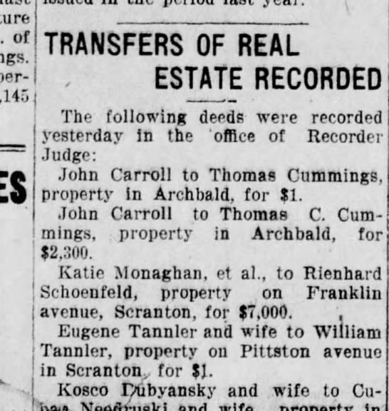 John Carroll real estate transactions 4 may 1910 -