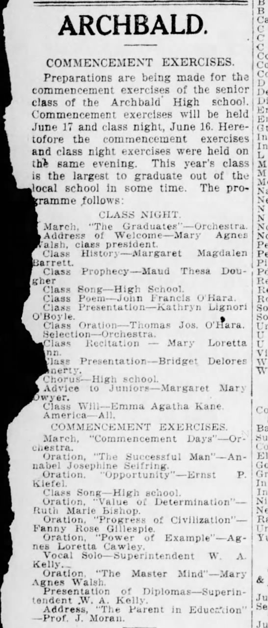 Maud Theresa Dougher mentioned in article about Archbald High School Commencement Exercises -
