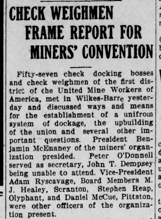 Granahan re Miners' convention  page 1 -